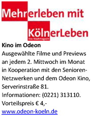 Odeon-Kino - jeden 2. Mittwoch Senioren 4 Euro